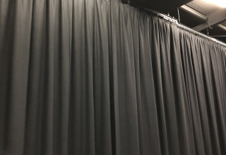 School Performing Arts Centre black wool curtains back